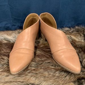 Nude Pointy toe cut out slip on ankle bootie